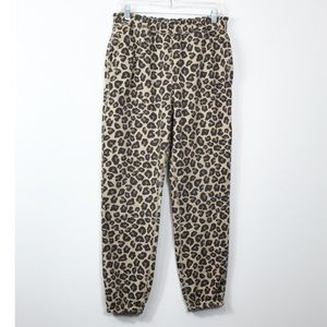 Abercrombie & Fitch Fleece Lined Cheetah Jogger L